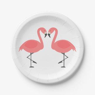 Pink Flamingo Wedding Bridal Shower Love Luau 7 Inch Paper Plate