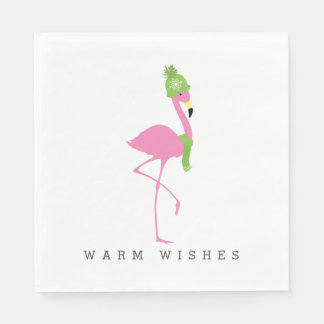 Pink Flamingo Winter Christmas Napkins Paper Napkins