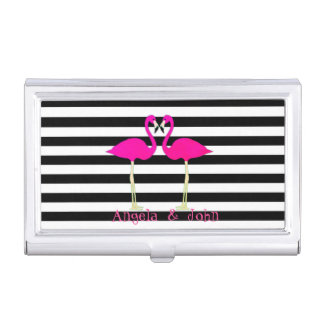 Pink Flamingos, Black, White Stripes Personalized Business Card Holder