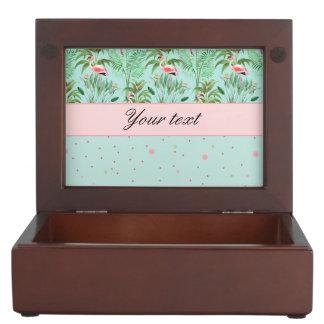 Pink Flamingos Polka Dots Keepsake Box