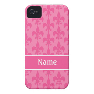 Pink Fleur de Lis Girly iPhone 4 Case