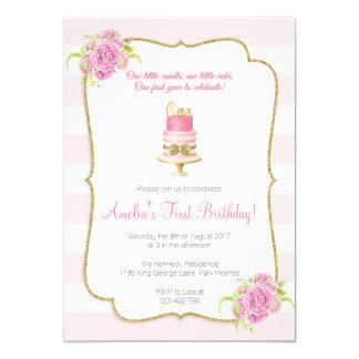Pink Floral 1st Birthday First Invitation