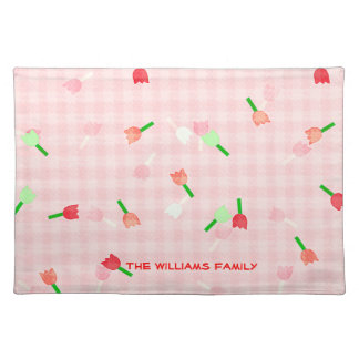Pink Floral and Checked Place Mat