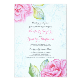 Pink Floral Botanical Watercolor Rehearsal Dinner 13 Cm X 18 Cm Invitation Card
