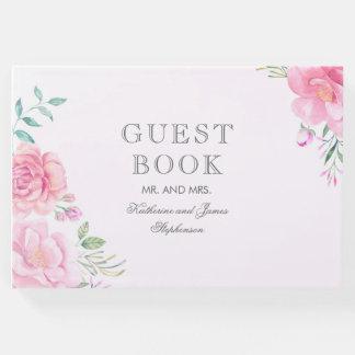 Pink Floral Bouquet Watercolor Wedding Guest Book