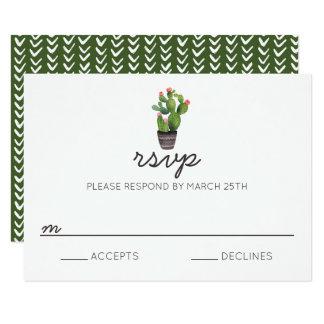 Pink Floral Cactus - RSVP Card