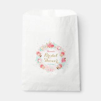 Pink Floral Cake Wreath Bridal Shower Favor Bags Favour Bags