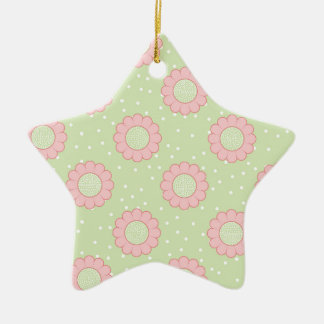 Pink floral design and polka dots christmas ornament