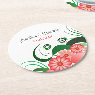 Pink Floral Hibiscus Round Wedding Paper Coasters