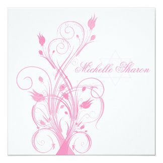 Pink Floral on White Bat Mitzvah Invitation