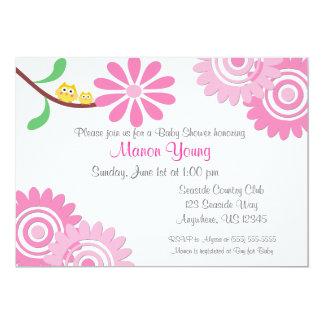 Pink Floral Owls Baby Shower Invitation