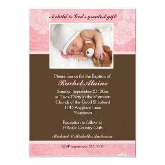 Pink Floral Photo Baptism Invitation