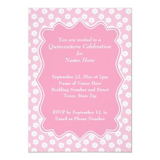 Pink Floral Quinceanera 13 Cm X 18 Cm Invitation Card