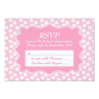 Pink Floral Quinceanera Card