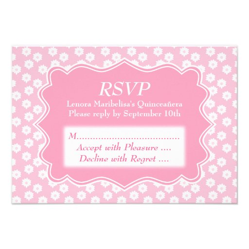 Pink Floral Quinceanera Announcement