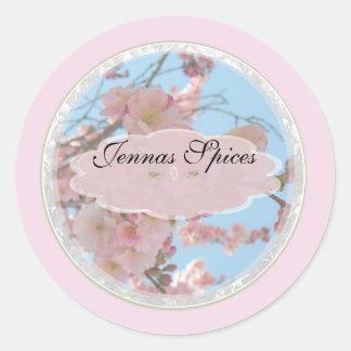 Pink Floral Spice Jar Label Round Sticker