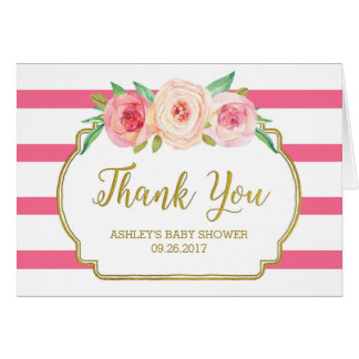 Pink Floral Stripes Gold Baby Shower Thank You Greeting Card
