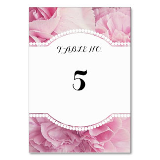 Pink floral table number cards table cards