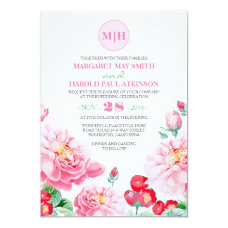 Pink Floral Vintage Elegant Garden Wedding 13 Cm X 18 Cm Invitation Card