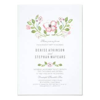 Pink Floral Watercolor Engagement Party Card