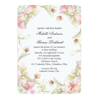 Pink Floral Watercolor Frame Card