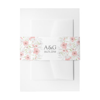 Pink Floral Watercolor Wedding Invitation Belly Band