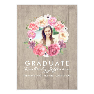 Pink Floral Watercolor Wreath Photo Graduation Card