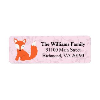 Pink Floral Woodland Baby Fox Return Address Label