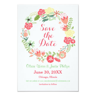 Pink Floral Wreath - 3x5 Save the Date Card