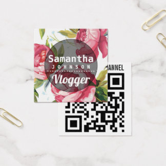 Pink Floral YouTube Vlogger Square Business Card