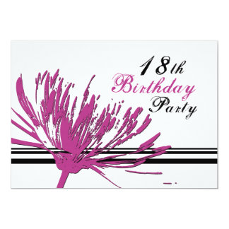 Pink Flower 18th Birthday Party Invitation Cards