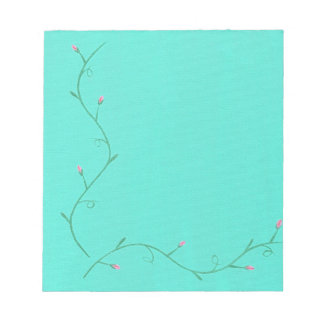Pink Flower Buds on a Vine Aqua Note Pads