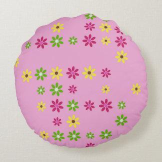 Pink Flower Confetti Round Cushion