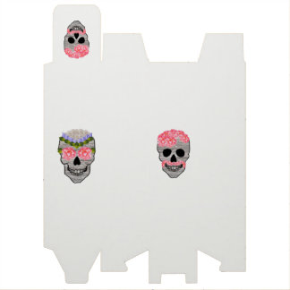 Pink Flower Day of the Dead Hipster Skull Wine Box