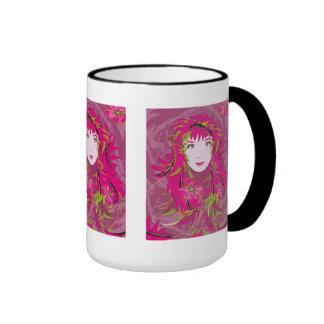 Pink Flower Lady black mug