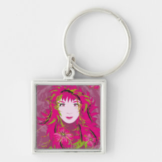 Pink Flower Lady premium square keychain