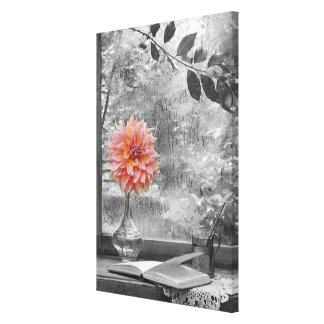 pink flower on a rainy day canvas print