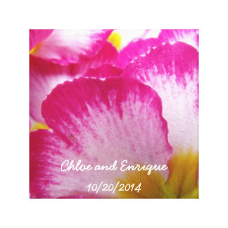 Pink Flower Personalized Wedding Canvas Print