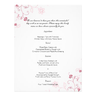 Pink Flowering Vines Wedding Menu