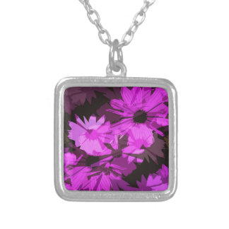 Pink Flowers Abstract Silver Plated Necklace