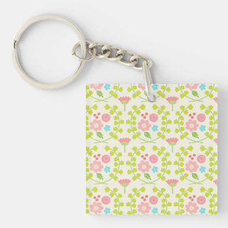 Pink flowers and green vines leaves key ring