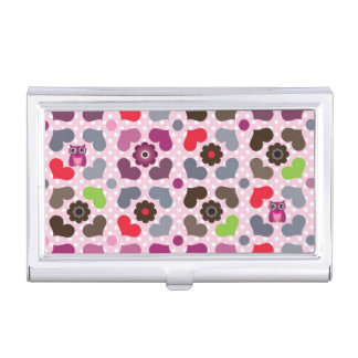pink flowers and owls pattern business card holder