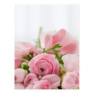 Pink Flowers Bouquet, Love Wedding Romance Postcard