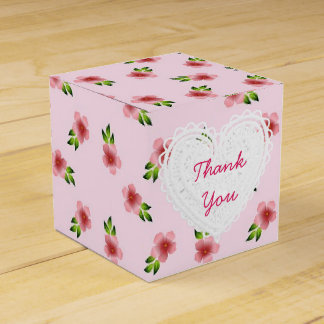 Pink Flowers Cupcake Box Favour Boxes