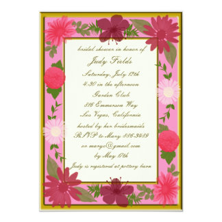 Pink Flowers Custom Bridal Shower Invitations