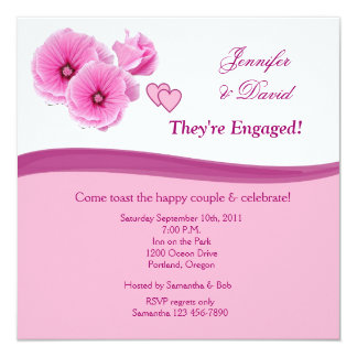 Pink Flowers Engagement Announcement