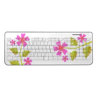 Pink Flowers Green Leaves Wireless Keyboard