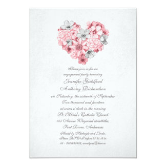 pink flowers heart vintage engagement party card