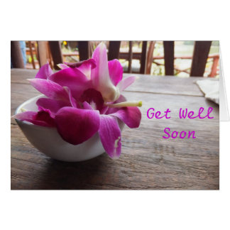 Pink Flowers in a Bowl Get Well Soon Card