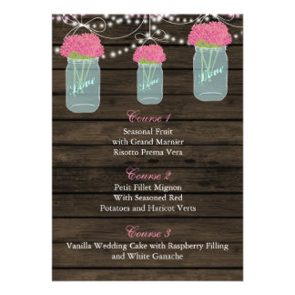 pink flowers in a mason jar wedding menu cards
